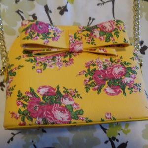 Betsey Johnson Yellow Floral Print Crossbody Bag